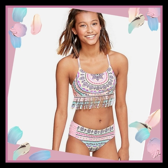 Justice Girls Swim Swimwear Bikini Mandala Fringe, 12